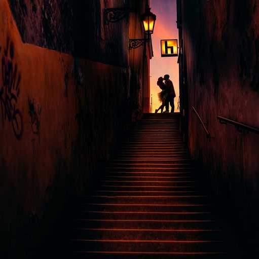 Novomanželé v temné uličce v Praze nad Hradem.
