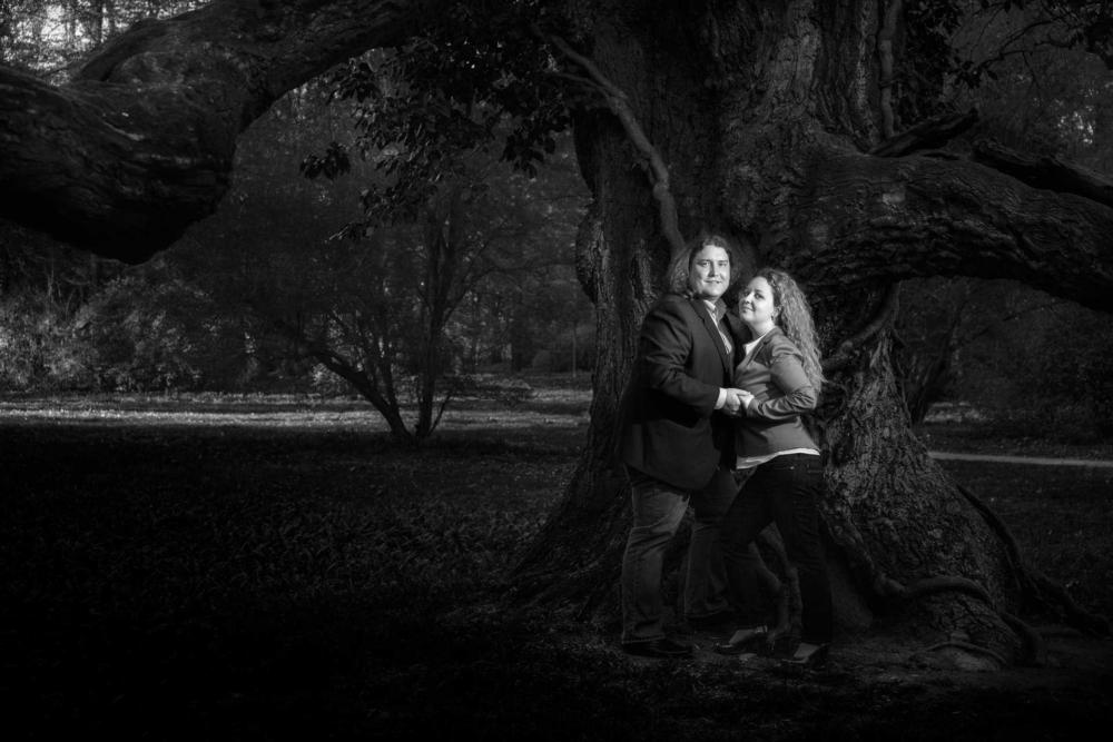 Snoubenci u stromu v Kroměříži.