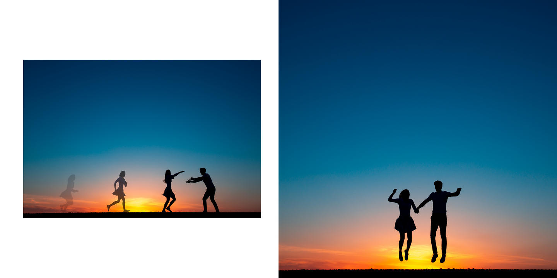 Silueta snoubeců s modrou oblohou, při západu slunce.